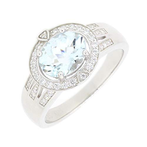 Vintage Style Sterling Silver Oval Cut Genuine Natural Aquamarine Halo Statement Ring East West Set Aquamarine Art Deco Ring