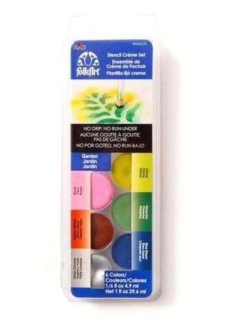Folkart Dry Brush Stencil Creme Set, Garden (Brush Paint Dry Stencil)