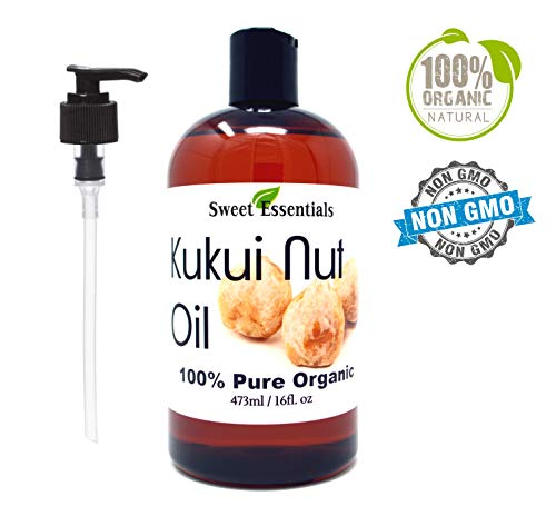100 Organic Kukui Nut Oil Imported From Hawaii Various Sizes 100 Pure Cold-Pressed Natural Moisturizer for Skin, Hair and Face By Sweet Essentials 16 fl oz Glass Bottle