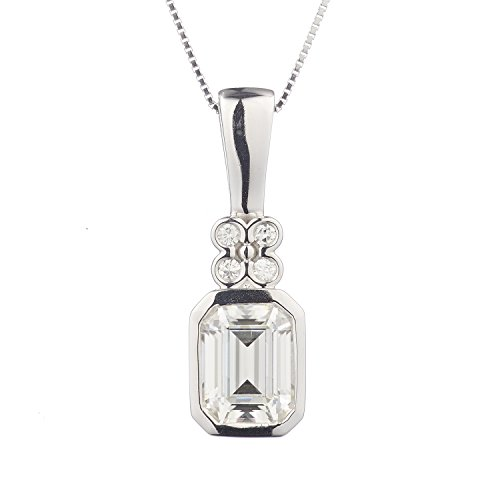 - 8x6mm Emerald Cut Moissanite Drop Necklace, 1.81cttw DEW by Charles & Colvard