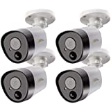 Q-See Home 5MP Analog HD ADD ON Bullet Security Camera 4 Pack, Pir, BNC, Night Vision, Indoor and Outdoor, White (QTH8075B-4)