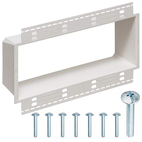 4-Gang XL Electrical Box Extender with Machine Screws, Complete Kit by DoodleYolk Inc. Junction box extension includes 6-32 truss head screws. Easy and Secure fix for miscut or sunken wall plates. ()