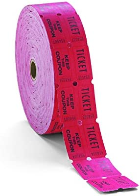PM Company 59005 Doppelpfand One Ticket Rolle, Weiß, 1 Rolle mit 2000 Tickets Rot 1-Pack rot
