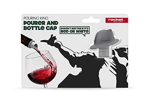 Pouring King. Wine Pourer and Bottle Cap by Rocket Design. Black Color. RK-POUK-BK
