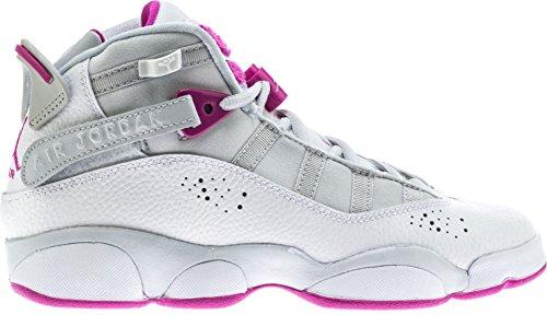 NIKE Jordan 6 Rings GG Girls Fashion-Sneakers 323399-011_9Y - Pure Platinum/Fuchsia Blast-White