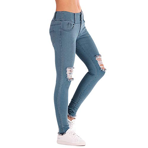 (TIMEMEANS Women Low Waisted Skinny Hole Jeans Stretch Slim Pants Calf Length Pencil)