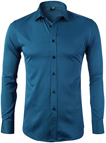 FLY HAWK Mens Fiber Casual Button Up Slim Fit Collared Formal Shirts, Teal Button Down Shirt