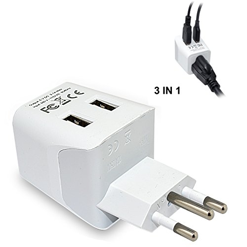 Brazil Travel Adapter Plug by Ceptics With Dual USB - USA Input - Type N - Ultra Compact - Perfect...
