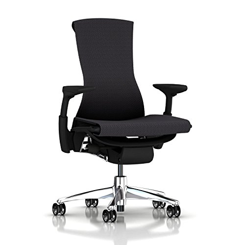 Herman Miller Embody Chair: Fully Adj Arms – Graphite Frame/Aluminum Base – Translucent Casters For Sale