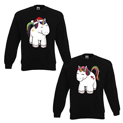 Idea Natale Unicorni Di Uomo Cappuccio Nere Con Regalo Felpe Xl Coppia Xxl Donna p6qgnI