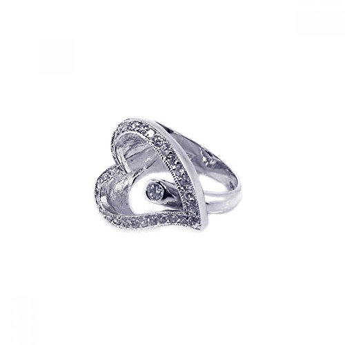 Unique Sterling Silver Rhodium Plated Round Center CZ Sideway Open Heart Ring