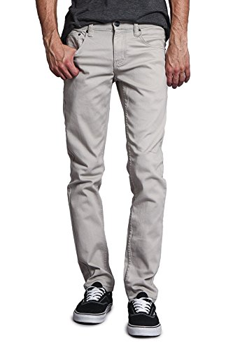 Victorious Men's Skinny Fit Color Stretch Jeans DL937 - Grey - 34/30