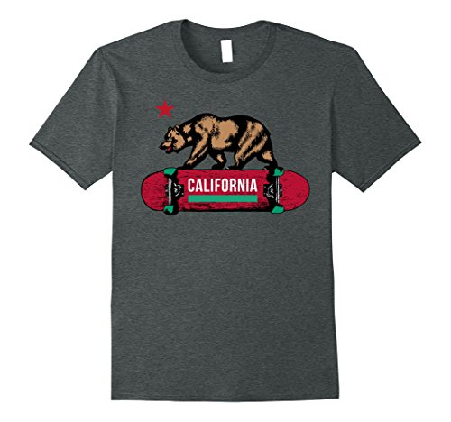 Mens California Bear Flag Skateboard Deck Graphic T-Shirt XL Dark Heather