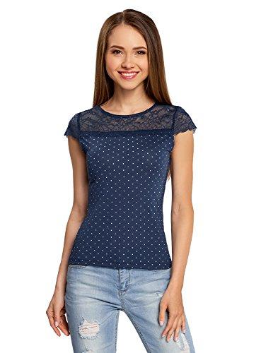 oodji Ultra Mujer Camiseta Entallada con Inserción de Encaje Azul (7512D)