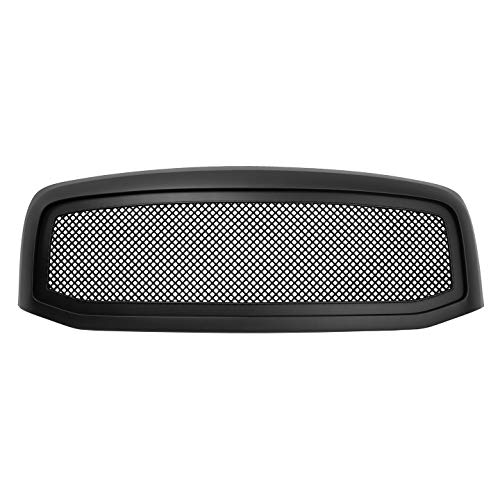 Paragon Front Grille for 2006-08 Dodge Ram 1500/2500/3500 - Matte Black Grill Grilles with Mesh (Grille Ram Dodge Inserts)