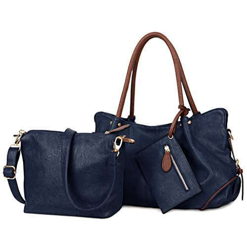 Womens 2 Piece Tote Bag Leather Handbag Crossbody Bags Set (Blue) - 5