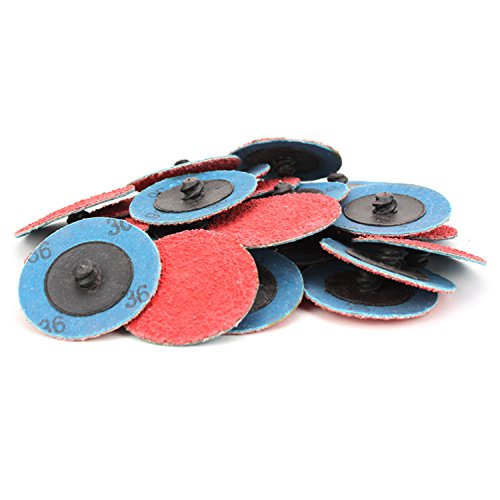 25 Pack - 2'' Premium Ceramic Quick Change Sanding Discs Type R Male - Roll On (36 Grit)… by Black Hawk