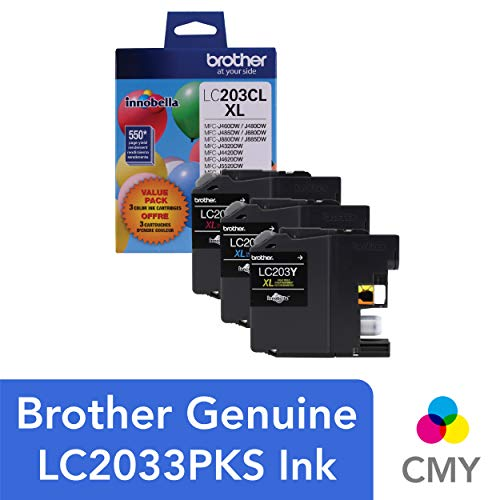 Brother Genuine High Yield Color Ink Cartridge, LC2033PKS, Replacement Color Ink Three Pack, Includes 1 Cartridge Each of Cyan, Magenta & Yellow, Page Yield Up To 550 Pages, Amazon Dash Replenishment Cartridge, LC203 Compatible Multi Pack Ink