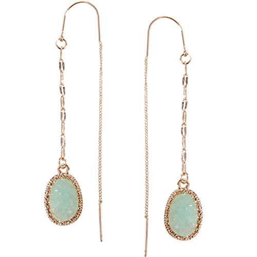 Humble Chic Simulated Druzy Chain Bar Threaders - Gold-Tone Long Sparkly Needle Drop Earrings for Women, Aqua, Simulated Aquamarine, Mint, Simulated Jade, Gold-Tone -