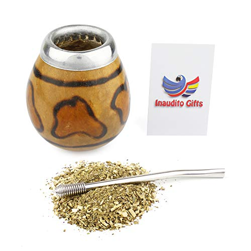 Inaudito Gifts Yerba Mate Kit. Handmade Mate Gourd (not Cured) and Straw (bombilla) to Drink Yerba Mate. Fire Edition. Family Size