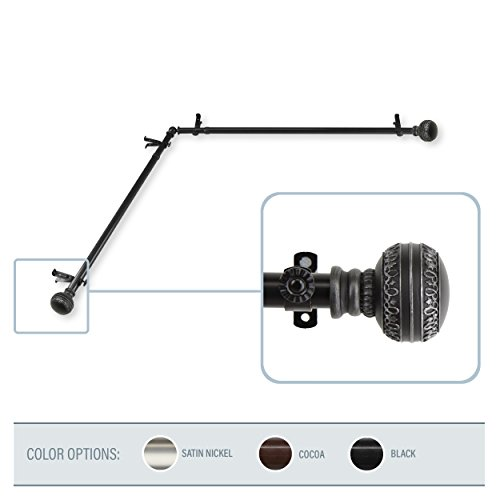 A&F Rod Decor - Bead Corner Window Curtain Rod 28-48 inch (each side) - Black -