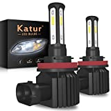 KaTur H8 H9 H11 LED Fog Light Bulbs 3-Sides Shinning Extremely Bright 3570 Chips Canbus Max 100W 3000 Lumens Replace for Driving Daytime Running DRL or Fog Lights,6000K Xenon White-2 Yrs Warranty