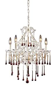 Elk 4002/5AMB 5-Light Chandelier In Antique White and Amber Crystal