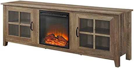 Walker Edison Furniture Company Modern Farmhouse Wood Fireplace Universal Stand with Cabinet Doors for TV s up to 80 Flat Screen Living Room Storage Entertainment Center, 70 Inch, Reclaimed Barnwood