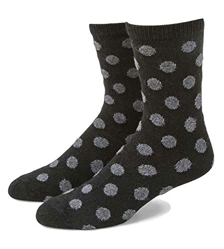 B.ella Women's Bea Cashmere Blend Polka Dot Crew Socks, Black/Grey, Medium