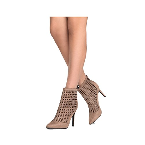 Zipper Closure Pointey Toe - High Heel Mesh Ankle Bootie - Burch Collection Old Tory