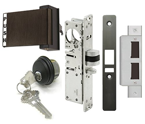 Adams Rite Style Latch Storefront Door Mortise Deadlatch Lock Exit Paddle Handle Kit w/Cylinder & Keys, in Duronotic (1-1/8