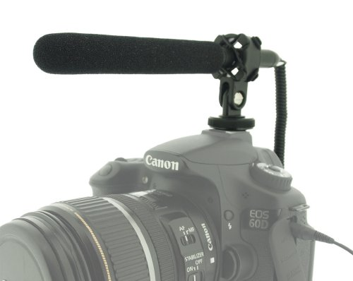 Polaroid Pro Video Ultra Thin & Light Condenser Shotgun Microphone With Shock Mount For Digital SLR Cameras & Camcorders