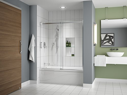 "Fleurco Apollo 57' to 60' W x 60' H Frameless Sliding Shower TUB Door Enclosure and Fixed Panel 1/4"" 6 mm Tempered Clear Glass Chrome Finish NAP7232-11-40"