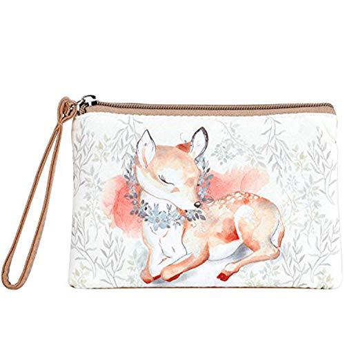 Women and Girls Cute Canvas Coin Purse Zipper Pouch Wallet for Cash, Bank Card, Passport, Coin (Cute Deer)
