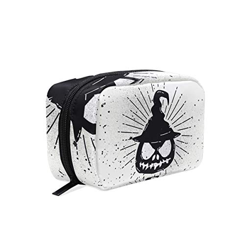 Scary Halloween Pumpkin Makeup Bag Organizer Portable Cosmetic Pouch Handbag With Zipper For Women Purse]()