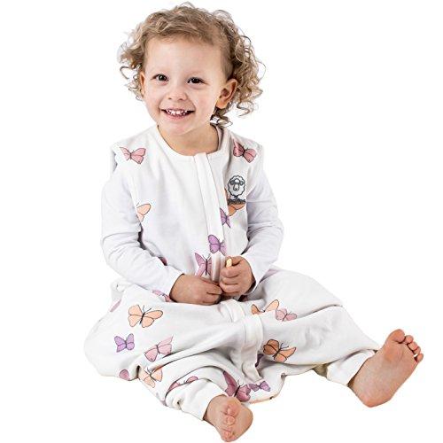 Woolino 4 Season Baby Sleep Bag With Feet, Merino Wool Walker Sleep Bag or Sack, 18-36m, Butterfly (Butterfly Cot)