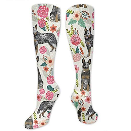 Australian Cattle Dog Florals Unisex Knee High Soccer Football Sport Tube Tripe Stripe Socks,