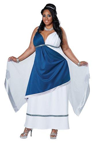 California Costumes Women's Plus-Size Roman Beauty Goddess Queen Long Dress Plus, Teal/White, (Roman Maiden Adult Costumes)
