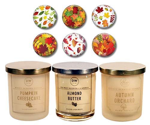 DW Home Autumn Fall Candles - Pumpkin Cheesecake, Almond Butter & Autumn Orchard - Limited Edition Set of Three 4 Ounce Travel Size Candles Plus Refrigerator Magnets Gift Set Bundle