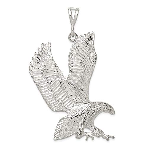 Eagle Charm Solid Silver Sterling (Jewel Tie Sterling Silver Eagle Charm - (1.06 in x 2.09 in))