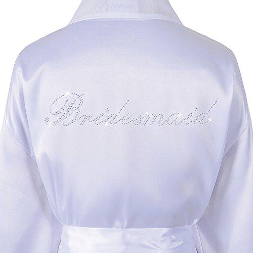 Albornoz personalizado de luna de miel, diamantes sintéticos y Satén Blanco Blanco
