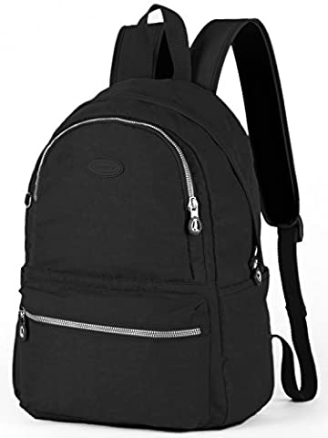 Lily & Drew Nylon Casual Travel Daypack Backpack with Trolley Strap (Black Medium V2) - Vinyl Trolley