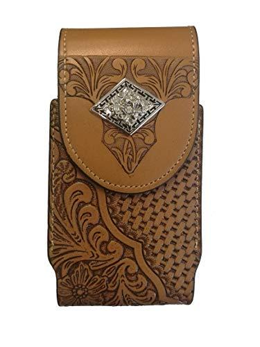 Texas A&m Pattern - Western Cowboy Leather Smartphone Phone Holder Holster Basketweave/Flower Pattern Tooled (Rhombic-Prayer-Khaki-M-Clip, M-3.25''x6.5'')