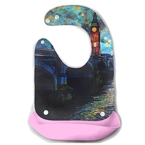 Waterproof Baby Super Bib Feeding Roll-up Bibs Colorful Water Building Silicone Bib For Babies&Toddlers -