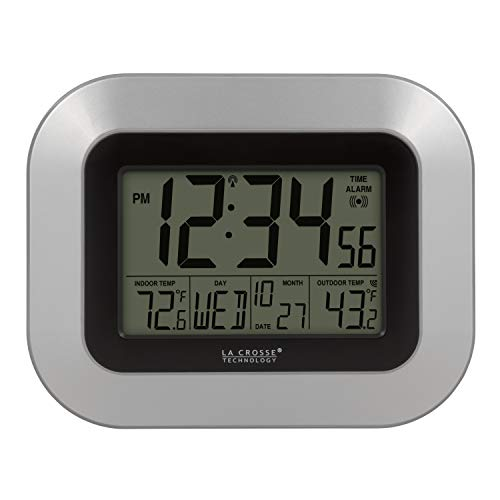 La Crosse Technology WS-8115U-S-INT Atomic Digital Wall Clock with Indoor and Outdoor -