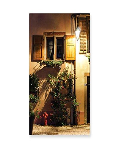 Lunarable Wanderlust Wall Art, Alsacien Village Street View France Summer Countryside Lantern Shadows, Gloss Aluminium Modern Metal Artwork for Wall Decor, 11.6 W X 23.5 L Inches, Pale Brown (Le Costume Alsacien)