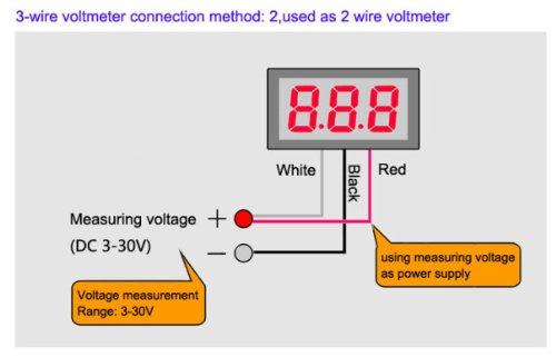 mini 3 wires 0 36 led digital volt voltage panel meter voltmeter 0 rh amazon co uk wiring a car voltmeter wiring a voltmeter in a car
