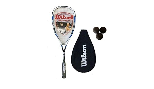 Amazon.com : Wilson Hyper Hammer Carbon 120 Blue Squash Racket + 3 Balls : Sports & Outdoors