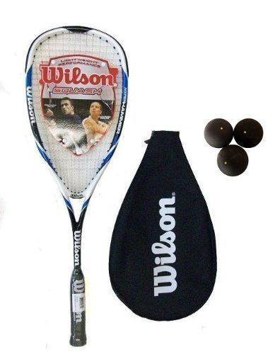 Wilson Hyper Hammer Carbon 120 Blue Squash Racket + 3 Balls
