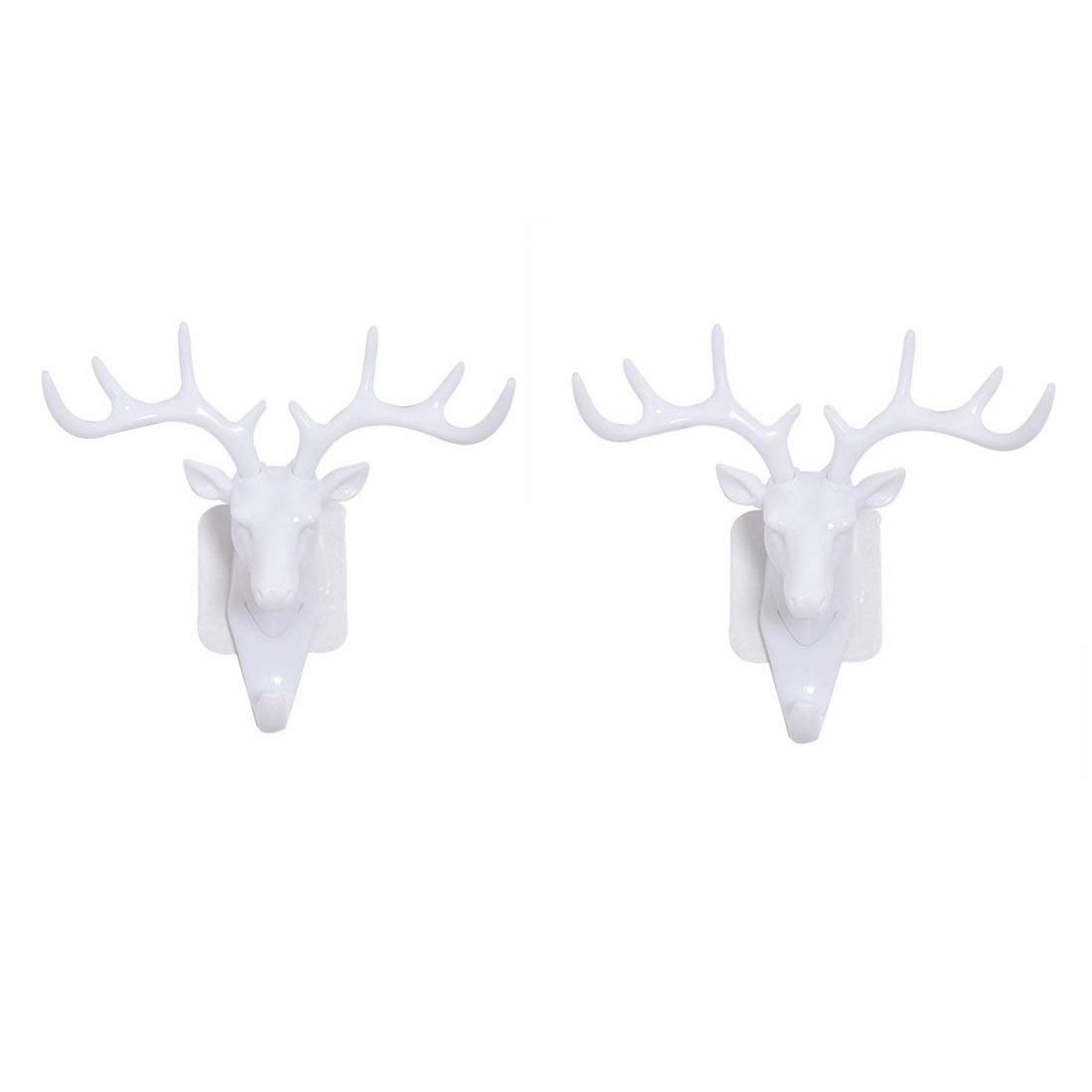 Haoun 2 Pack Decorative Wall Hooks, Deer Head Wall Decor Vintage Hat Hooks Wall Mounted Hanging Wall Organizer